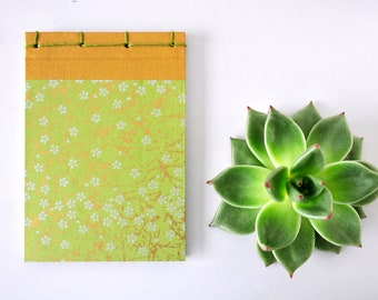 Japanese Notebook, small, hand bound, green, gold, stab binding - Journal, Diary, Sketchbook, Travel Book, cherry blossom, sakura