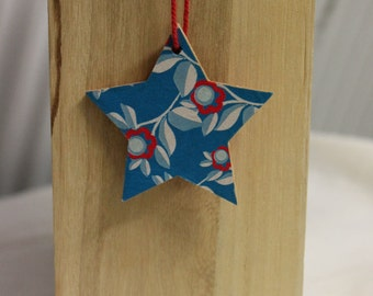 Hanging wooden star, Hanging star, Wood decoupage, Handrafted