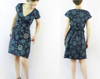 Blue Black V-neck Wrap Dress with Chakra Prints