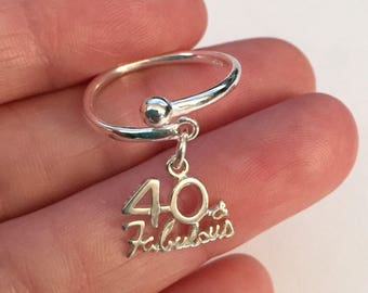 Birthday sterling silver ring-40 and fabulous silver adjustable ring