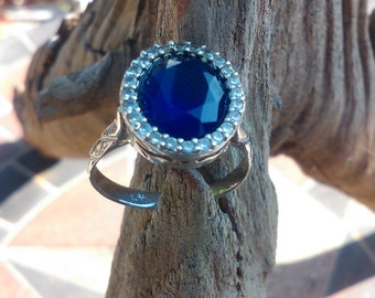 Sterling Silver blue and clear ring