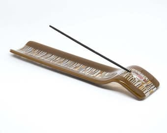 Brown Incense Holder - Glass Incense Burner -  Stick Ash Catcher - Neutral Yoga Studio Decor-  Weed and Smoking Accessories - Puja -1758