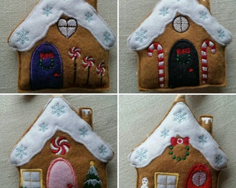 Gingerbread Houses  Christmas Tree Decoration, can be bought individually or as a set of 4.