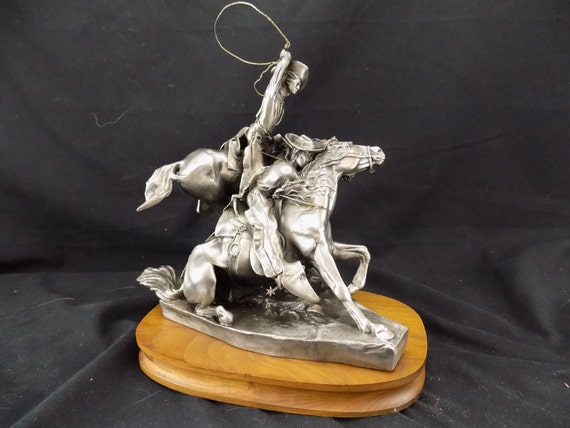 Bristol Pewter Cowboy Hall of Fame Sculpture Lassoing Wild Horses Solon Borglum Western Decor