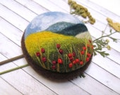 Needle felted brooch with embroidery Wool felt brooch Flower brooch Felted jewelry Gift ideas for her Felted landscapes