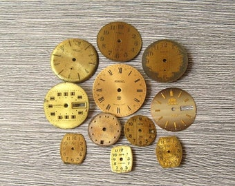 Sale 11 pcs Vintage Watch Faces, Wrist Watch Faces, Round Watch Face, Steampunk Watch Face, Watch Faces Dials, Metal Watch Faces