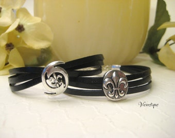 Fleur de lis Leather Bracelet, Hurricane Leather Bracelet, New Orleans Bracelet, Louisiana Jewelry, New Orleans Jewlery