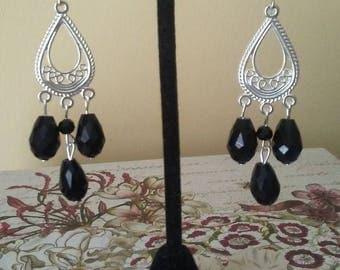 Black Teardrop Earrings, Lead and Nickel Free