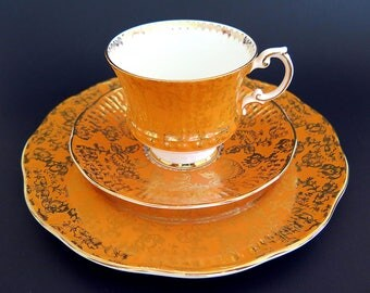 Vintage Elizabethan Orange Tea Cup Saucer Salad Plate Trio Pattern 5222