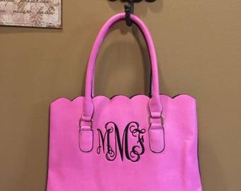 Personalized Monogrammed Pink Faux leather scalloped bag, scalloped tote, scalloped purse