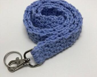 Light Blue Crochet Lanyard, Crochet Lanyard, Handmade Cotton Lanyard, Gift for Her, Teacher Gift, ID Holder, Keys, Crochet Key Holder