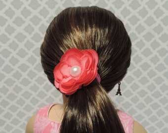Pink Flower Hair Band for American Girl and other 18 inch dolls