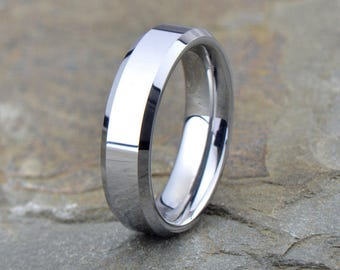 Tungsten Wedding Band, Polished Tungsten Ring, Beveled Edge, Comfort Fit, Ring, Band, Anniversary Ring, Free Laser Engraving, 6mm
