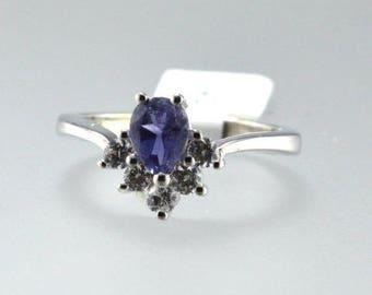 Iolite Sterling Silver Ring, Rhodium Plated, Natural Gemstone