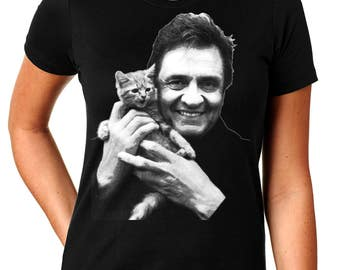Johnny Cash With Kitten - Women's T Shirt