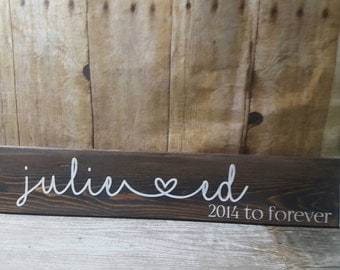 Name sign, his and her name sign, valentines sign, anniversary sign, wedding sign, bride & groom sign, first name sign, name heart sign,