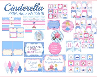 Cinderella Party Package,  Instant Download, Princess Cinderella 60% savings, Print from home, PDF, party package, Full package, Save now