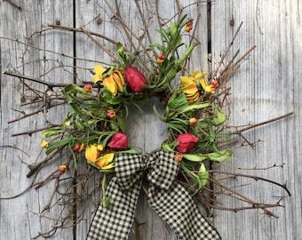 Summer Wreath, Twig Wreath, Black Eyed Susan Wreath, Pip Berry Wreath, Primitive Wreath, Rustic Wreath, Country Wreath, Free Shipping
