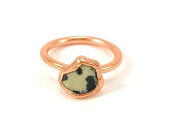Raw Stone Ring, Dalmatian Jasper Ring, Raw Crystal, Electroformed Ring, Copper Ring, Black and White Gemstone, Rough, Nugget, Healing, Edgy