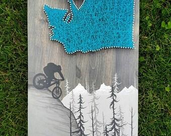 Mountain Bike Gift, Painted Mountains, Mountain Biking, Bike String Art, Bike Art, Personalized, Wall Art, Mountain Decor, Wall Decor, Wood