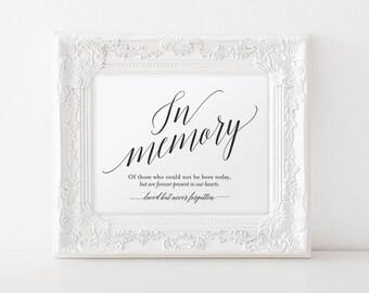 In Memory Sign, In Loving Memory Sign, Memory Sign, Memorial Table Sign, Wedding Sign, Wedding Printable, PDF Instant Download #BPB310_54