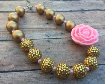 Pink and Gold Chunky Necklace - Pink and Gold Necklace - Pink and Gold - Birthday Necklace - Pink and Gold Birthday - Bubble necklace - pink