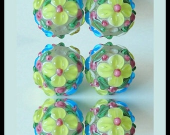 3D Flower Of Lampwork Beads!Lampwork Glass Beads - 6Pcs In Lot! - Lampwork Flower Beads - Artisan Lampwork Beads, 14MM - (RD65280)