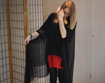 Maxi Kaftan Dress / Long Asymmetric  Tunic Dress / Summer Kaftan / Chiffon Dress