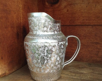 Aluminum Pitcher, Vintage Pitcher, Glamping Pitcher, Lightweight Pitcher, Silver Pitcher, Flower Vase, Handwrought Aluminum Pitcher, Unique!