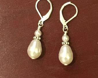 Swarovski Crystal White Pearl drop earrings