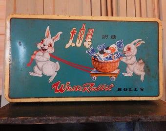 Vintage Chinese White Rabbit Rolls Candy Tin