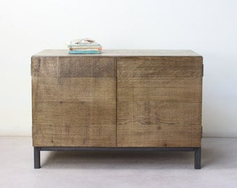 Chamfered Edge 'Industrial' Solid Oak Cabinet/Cupboard/TV Stand