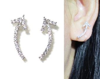 Clip-ons, Micropavé CZ Crystal Clip on earrings 15G Arrow Ear Climber Non Pierced stud Earrings Ear Cuff Wedding Clip on Bridal Clip on