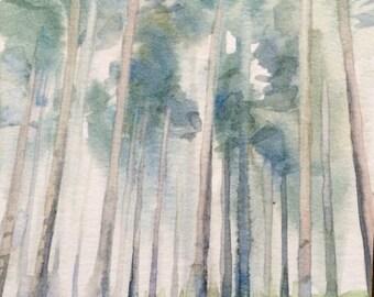 Watercolor trees, Birch trees, Misty trees, Misty forest, forest, forest painting, tree painting, tree landscape, landscape watercolor