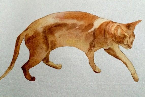 Watercolor cat, orange cat, cat, cats, cat watercolor, ginger cat, cat painting, original cat painting