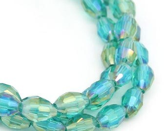 Glass Loose Beads Faceted Oval AB Color Malachite Green 6mmx4mm