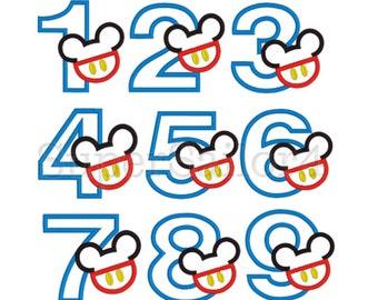 Mouse Number 1-9 set applique design, Mouse Birthday Numbers applique design, Minnie Numbers applique design