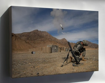Canvas 24x36; 60Mm Mortar Round Being Launch