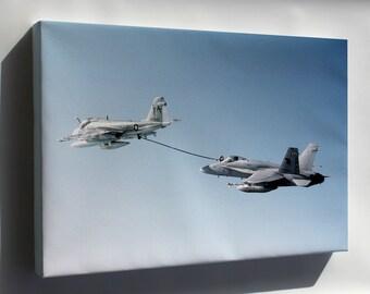 Canvas 24x36; A 18C Hornet Aircraft Refueling From A Ka 6D Intruder.Jpeg_Files