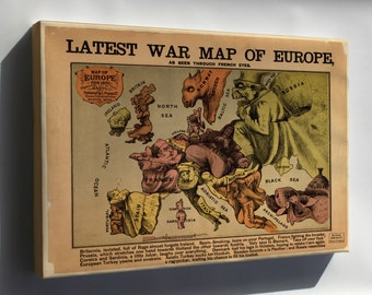 Canvas 24x36; War Map Of Europe Seen Through French Eyes 1870