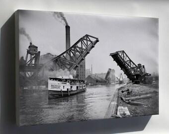 Canvas 16x24; 12Th Street Bascule Bridge, Chicago, Illinois, Ca. 1905