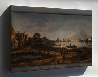 Canvas 16x24; River View By Moonlight By Aert Van Der Neer
