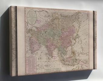 Canvas 16x24; Map Of Asia; India China Japan Russia Arabia 1791
