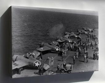 Canvas 16x24; F4F-4 Wildcat Vf-9 And Vf-41, Uss Ranger (Cv-4) 1942