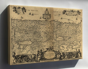 Canvas 16x24; Map Of Canaan; Holy Land Palestine Israel 1700