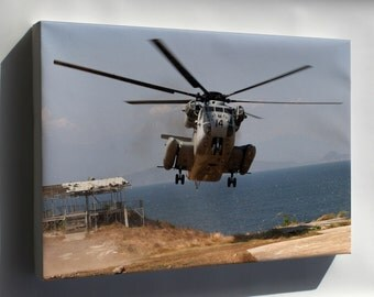 "Canvas 16x24; Ch-53 ""Sea Stallion"" Helicopter Arrives At Fort Ternate"