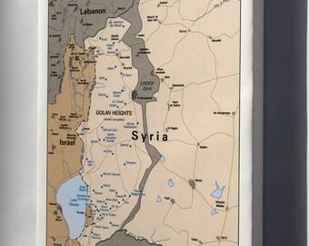 Canvas 16x24; Cia Map Israel Settlements Golan Heights Feb 1992