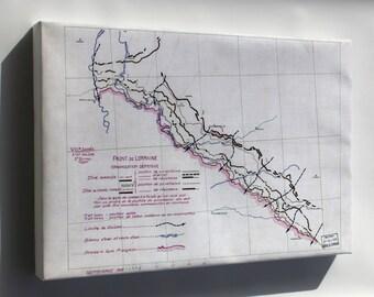 Canvas 16x24; Wwi Map Lorraine Front France 1918