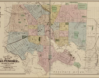 16x24 Poster; Map Of The City Of Baltimore, Maryland 1878