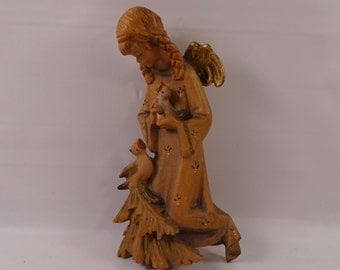 Carved Wood Angel With Birds Wall Decor Germany